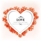情人节贺卡或与花卉装饰的礼品看板卡 库存照片