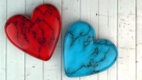 情人节-在木板的心脏 3d例证 免版税库存图片