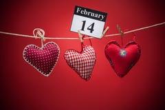 情人节2月14日,红色心脏 免版税库存照片