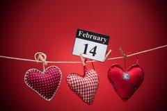 情人节2月14日,红色心脏 免版税库存图片