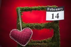情人节2月14日,红色心脏 库存图片