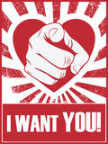 情人节滑稽的海报或明信片用手 免版税图库摄影