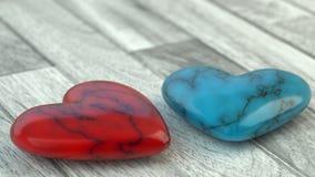 情人节-红色和蓝色心脏 免版税库存图片