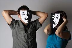 情感人屏蔽剧院妇女 免版税库存图片