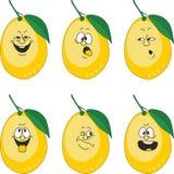 情感动画片黄色柠檬设置了013 皇族释放例证