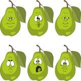 情感动画片绿色梨设置了005 向量例证