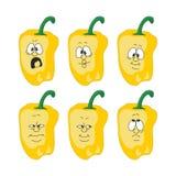 情感动画片黄色胡椒菜设置了003 库存例证