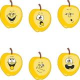情感动画片黄色苹果设置了018 库存例证