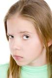情感女孩怀疑年轻人 免版税库存图片