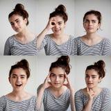情感女孩拼贴画白色背景的,正面和消极情感综合以女孩 免版税库存图片