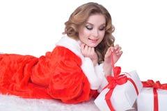 情感女孩新的画象红色外套乐趣的 背景查出的白色 免版税库存图片