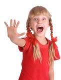 情感女孩衬衣呼喊体育运动 免版税库存照片