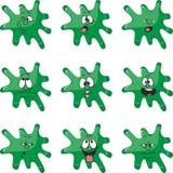情感微笑动画片绿色污点彩色组008 皇族释放例证
