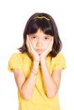情感显示年轻人的女孩悲伤 库存图片