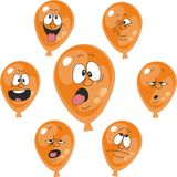 情感橙色气球设置了007 皇族释放例证