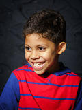 情感矮小的黑美国黑人的男孩画象 图库摄影
