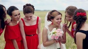 情感笑新娘和的女傧相谈话和 慢的行动 影视素材