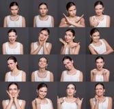 情感设置了少妇在演播室背景 免版税库存图片