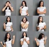情感设置了少妇在演播室背景 图库摄影