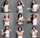 情感设置了少妇在演播室背景 免版税图库摄影