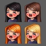 情感象有长的头发的gasm女性社会网络和贴纸的 向量例证