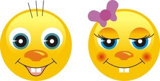 情感面对面带笑容 免版税库存照片