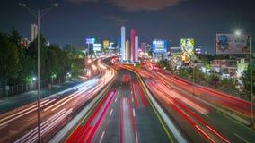 惊人一条巨大的高速公路墨西哥城的夜视图 股票视频