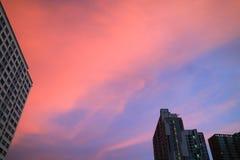 惊人的充满活力的桃红色和蓝色云彩分层堆积在高大厦的日落天空在都市曼谷的` s 库存图片