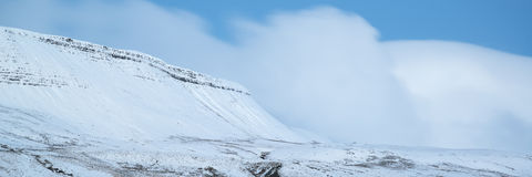 惊人的冬天全景风景积雪的乡下机智 免版税库存图片
