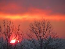 惊人的冬天日落和神奇天空 免版税库存照片