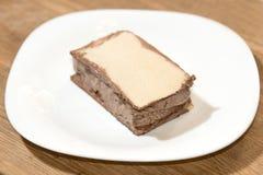 惊人的冰淇凌用在板材的奶蛋烘饼 库存照片