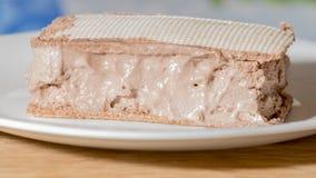 惊人的冰淇凌用在板材的奶蛋烘饼 免版税库存图片