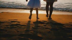 惊人的后面看法握手,在难以置信的海海滩的观看的史诗日落的被射击年轻母亲和小女儿 股票视频