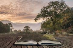 惊人的在乡下的冬天有雾的日出在Crummock W附近 免版税图库摄影