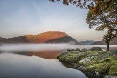 惊人的在Crummock水的冬天有雾的日出在湖区 免版税库存图片