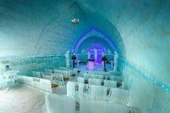 惊人的在Fagaras山的冰教会内部视图,特兰西瓦尼亚,罗马尼亚 免版税库存照片