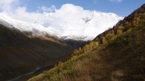 惊人的旅游地方Ushguli位于什哈拉山,其中一的脚个最高的白种人山顶,社区  影视素材