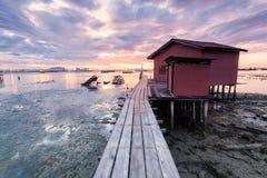 惊人的日出和日落在乔治市,槟榔岛 库存图片