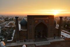 惊人的日出在撒马而罕 图库摄影
