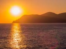 惊人的日落在五乡地 库存照片