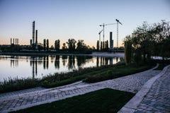 惊人的日落在匈牙利 免版税库存照片