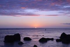惊人的日落在毛里求斯 免版税图库摄影