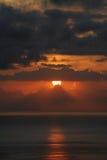 惊人的日落在特内里费岛,加那利群岛 免版税库存照片