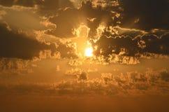 惊人的日落在索契 免版税库存照片