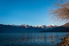 惊人的日落在Dorio, Como湖-意大利 免版税库存照片