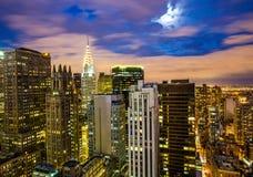 惊人的日落的曼哈顿 免版税图库摄影