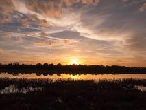 惊人的明亮的在湖水ref的秋天收获太阳设定场景 免版税图库摄影