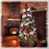 惊人的村庄圣诞树和装饰 免版税库存照片