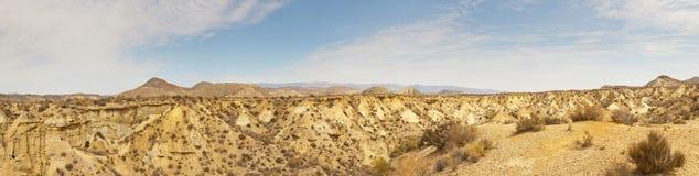 惊人的沙漠横向全景照片。 免版税库存图片
