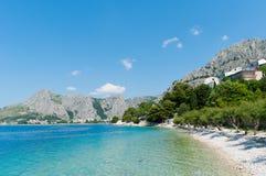 惊人的海景在Omis,克罗地亚 库存图片